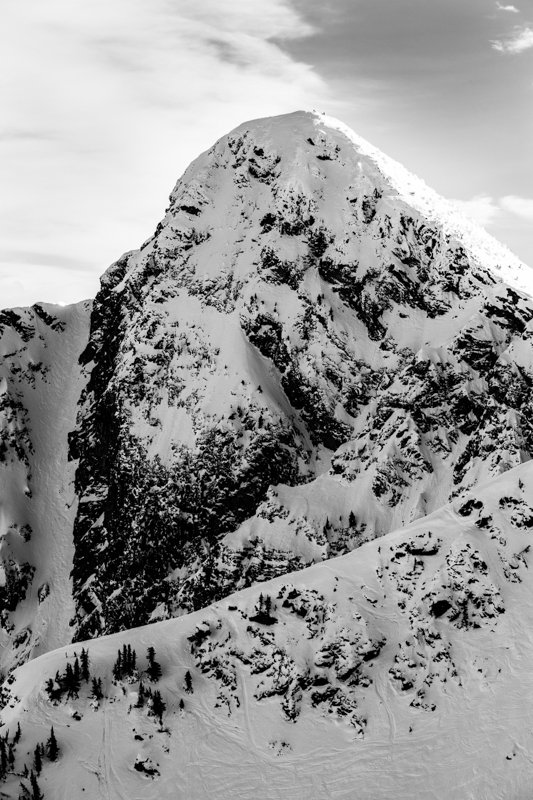 Mt. Mackenzie (8,058ft) with Brown Shorts chute lookers left. Not hard to see why they call it that! - © Liam Doran