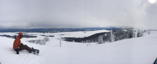 A gorgeous view with a foot of pow in the trees!