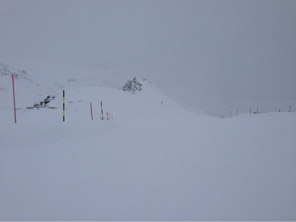 Well... Not a complete white out, some visibility and contrast, great conditions but only 1/4 of the whole open for ski...
