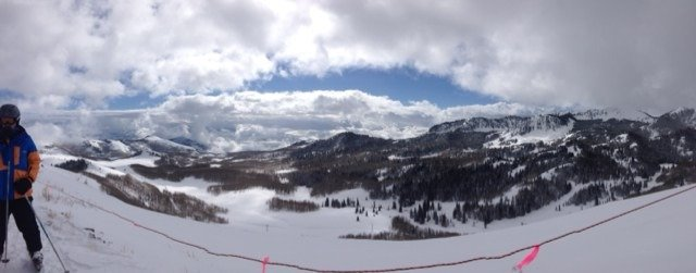 Great day on the mountain! Good skiing, sun and lots of snow covered trees. View from McConkeys