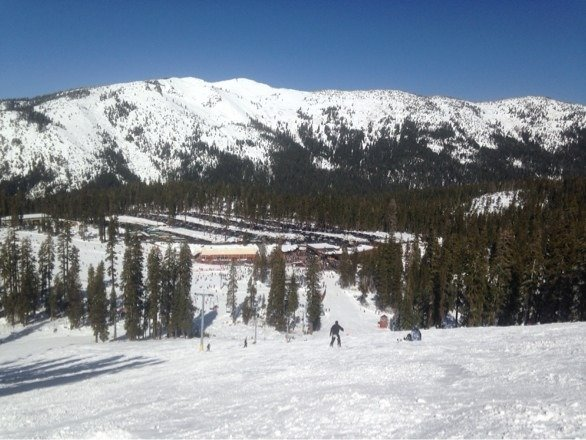 Bluebird day, springlike conditions.  Despite  packed parking lot lift lines not bad.