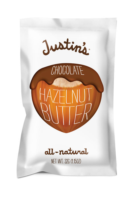 Justin's Chocolate Hazelnut Butter is great on a pastry or straight from the pouch. - © Justin's