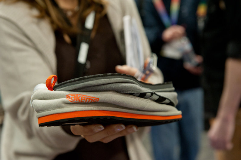 Pakems, likened to flip flops for winter, were a hit at SIA 2014. Stack 'em and pack 'em. - © Ashleigh Miller Photography