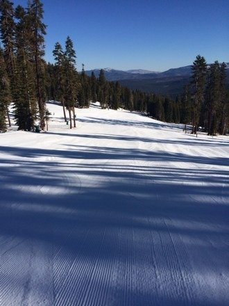 Gorgeous February day. Hard packed snow and a bit icy, but great groomers and not too many people.