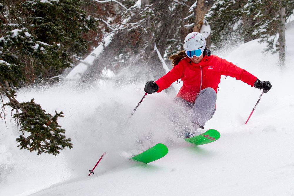 Ski Test Director, Krista Crabtree, charging a tram lap.  - ©Cody Downard Photography