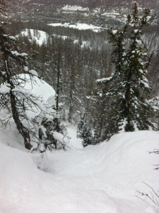 Danger!!! Avalanche almost spat me off a cliff at the end of this chute.