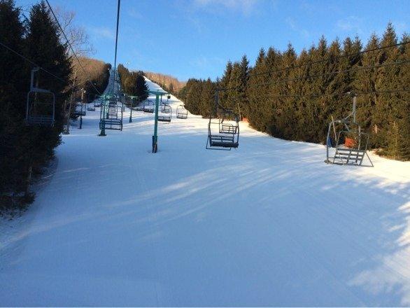 Skied like mid-January today. Early morning sunrise on the slopes.