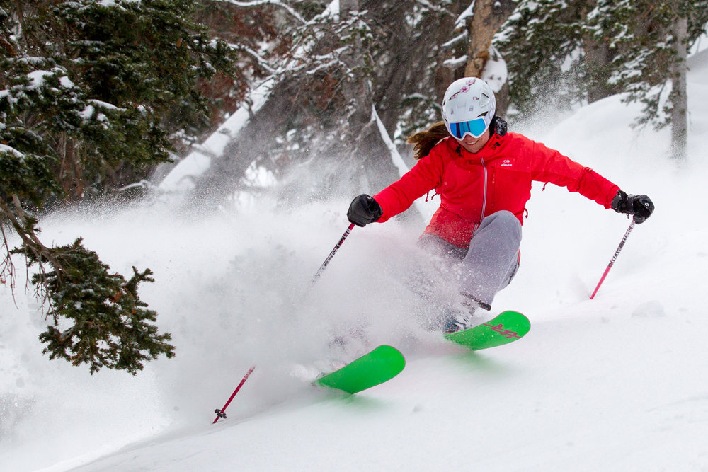 Ski Test Director, Krista Crabtree, charging a tram lap.  - © Cody Downard Photography