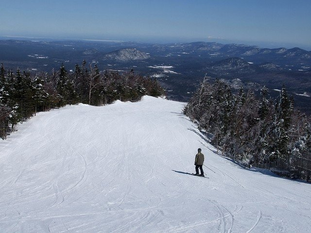 A lone skier at Whiteface, NY.