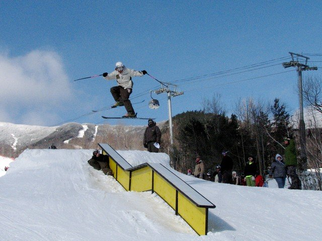 A skier at Whiteface's terrain park.