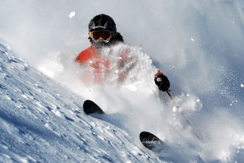 Skiing through powder.