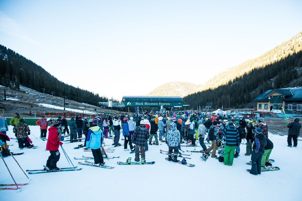 A couple thousand excited skiers and snowboarders trekked to the Basin to get in some early season turns.  - © Dave Camara/Arapahoe Basin Ski Area