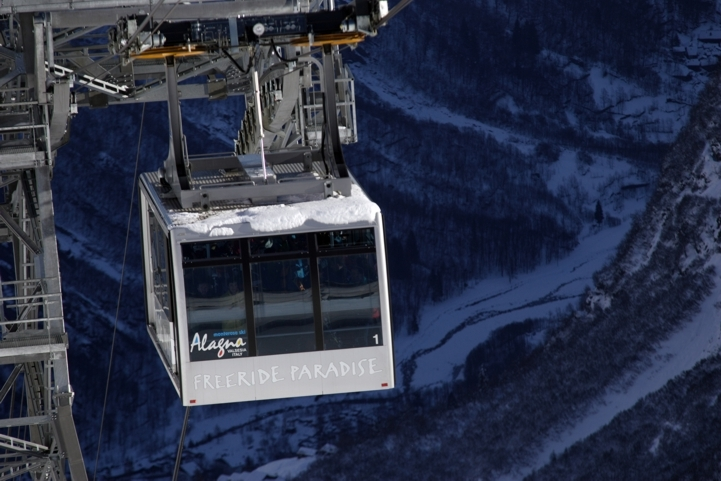 Alagna gondola high above the mountains in the evening