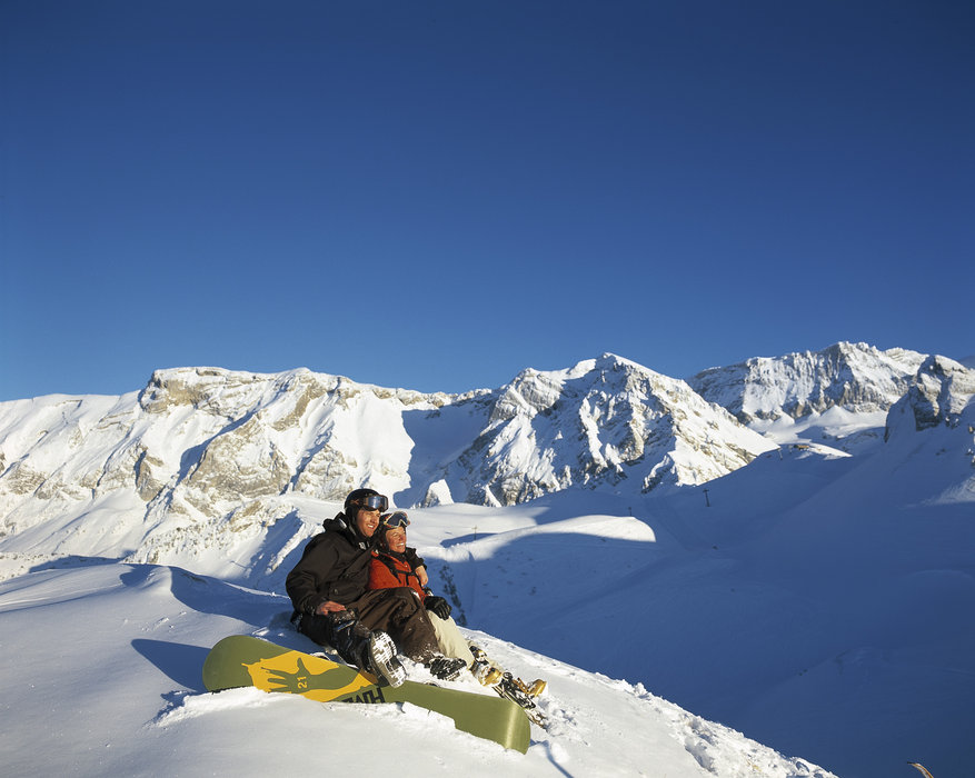 Resting boarders at Adelboden.