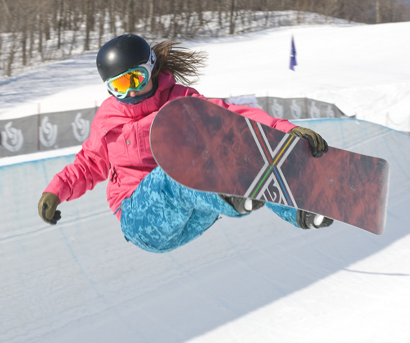 Kellly Marren on half-pipe in Burton US Open 2009 Snowboarding Championships at Stratton
