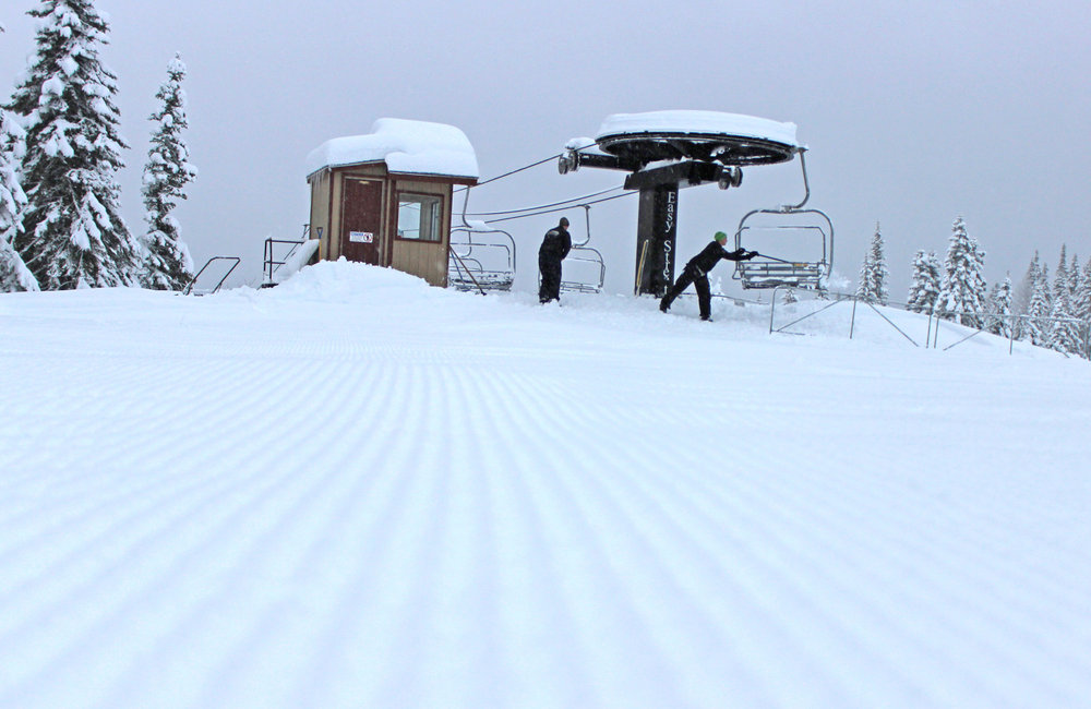 Packed powder corduroy greeted skiers on groomed runs at Brundage Mountain's opening weekend. - ©Brundage Mountain