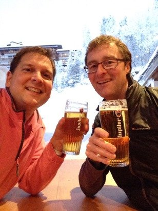 Great snow, great powder.... A view from the bar.... Worth every minute of the 15 hour transfer time from Geneva...