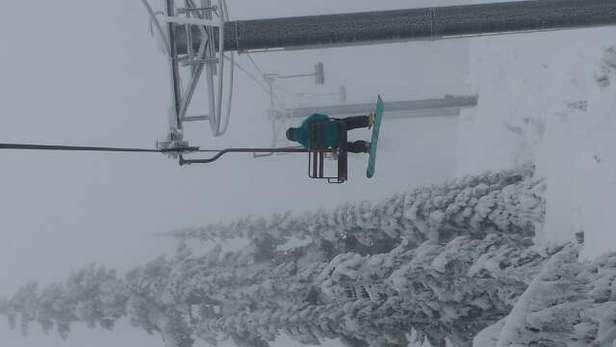 still snowing.