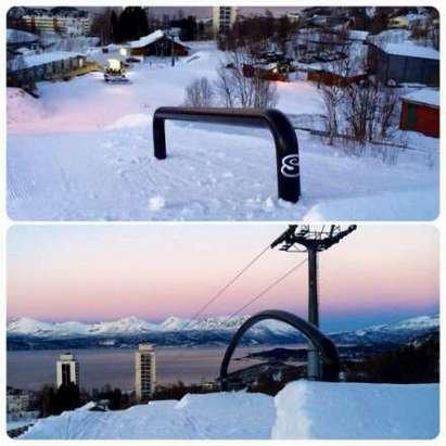 Nye rails er montert!  De to første railsa er på plass i#Narvikfjellet! Familiebakken og Barnebakken åpner på lørdag 24.01!
