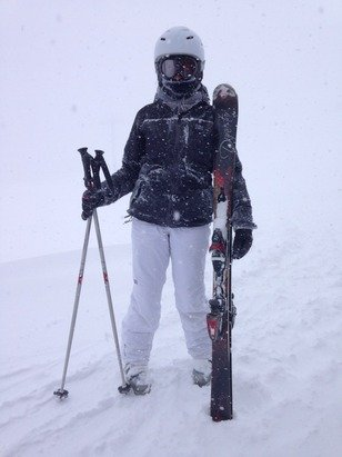 Whiteout conditions in La Rosiere today! Going for a well earned Chocolat chaud :D