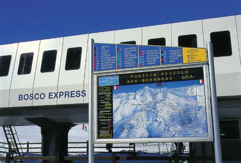 Mapa zjazdoviek v dolnej stanici vlekov v La Thuile