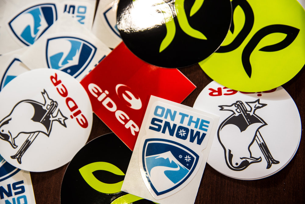 Sponsors represent at Ski Test happy hour. - ©  Liam Doran