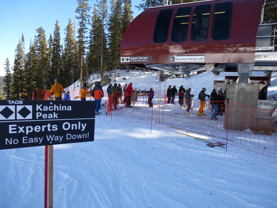 Taos' new Kachina Peak lift—for advanced through expert skiers and riders—whisks public just shy of the 12,481 summit. - © Krista Crabtree