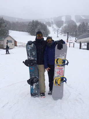 Windham Mountain - Suprise snow fall today. 2 inches of fresh by last run. Had the best winter  - © iPhone