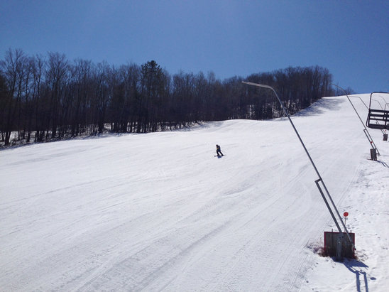 Swain - Outstanding Spring conditions.  Well groomed and minimal ice.  Great job Swain! - © iPhone