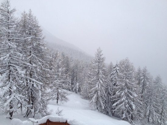 Sainte Foy Tarentaise - Snow in Sainte Foy overnight.  Yippee  - © paul's iPhone