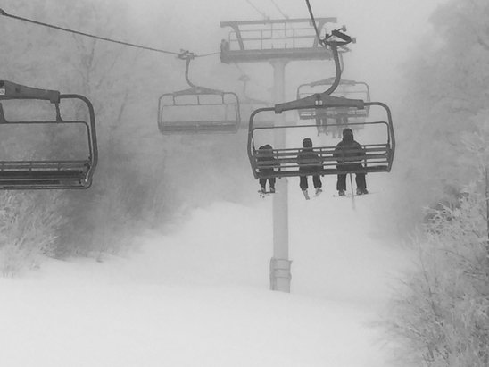 Stratton Mountain - Powder, machine groomed. Great snow...not quite the same for visibility. Overall another great day on the mountains; still a winter wonderland!! - ©Ani
