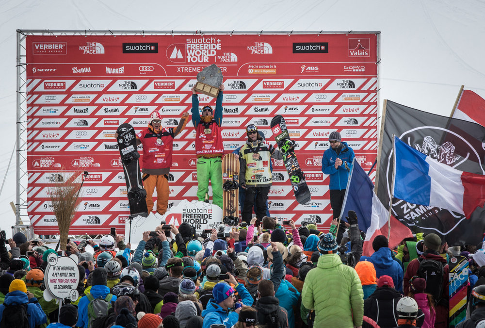 Siegerehrung in Verbier - © T. Repo | Freeride World Tour 2015