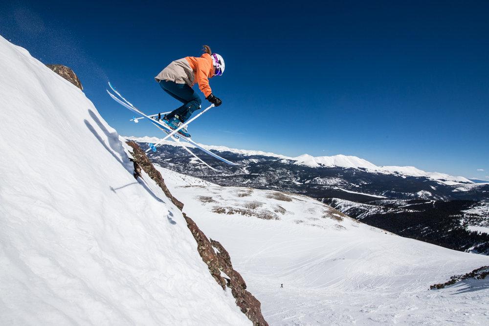 U.S. Marketing Director for Faction Skis, Jesse Amborgi-Yanson takes flight in the Lake Chutes. - © Liam Doran