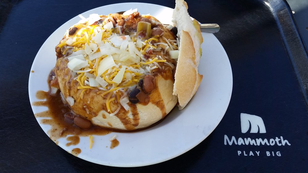 At The Mill Café on Mammoth Mountain, you can either get the chili in a bread bowl or wish you had. - © Heather B. Fried