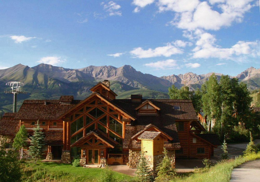 An exterior view of the Telluride Mountain Lodge.