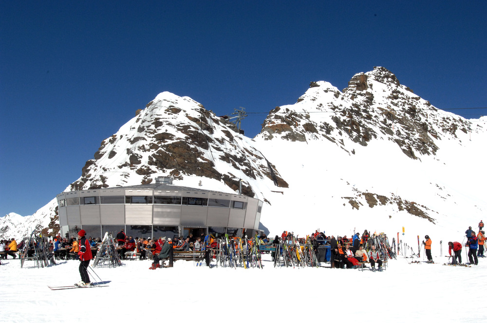 Skiers at Jochdohle restaurant on Stubai Glacier