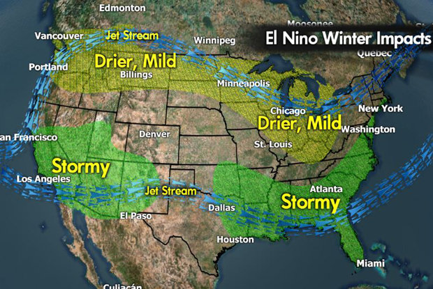 Meteorologist Chris Tomer's North American El Niño predictions for the 2015/2016 ski season. - © Meteorologist Chris Tomer