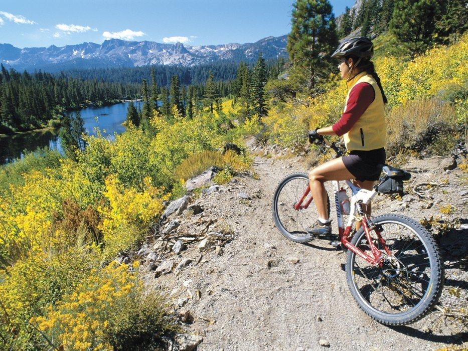 Mountain biking at Mammoth Lakes Basin, Mono County, CA