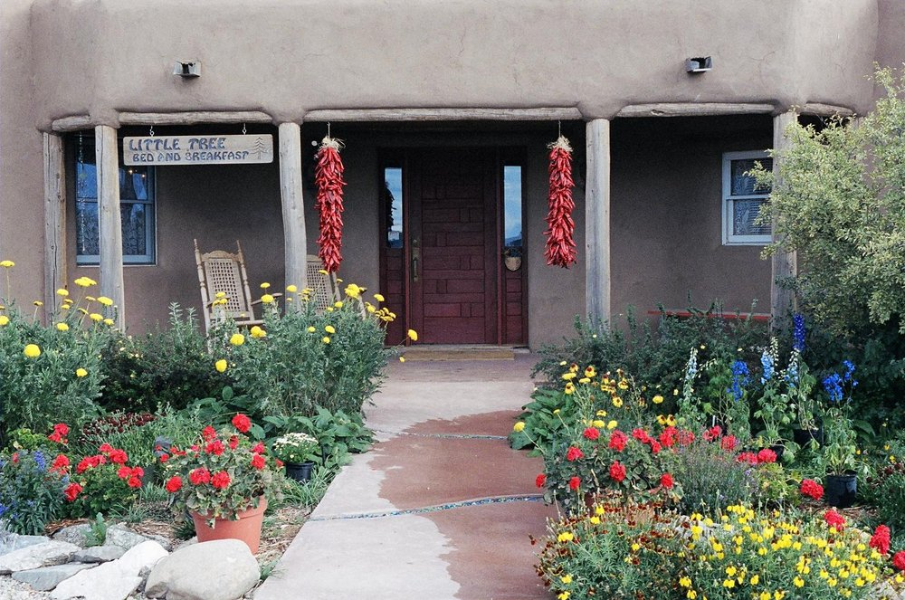The entrance of the Little Tree Bed & Breakfast, Taos, New Mexico.