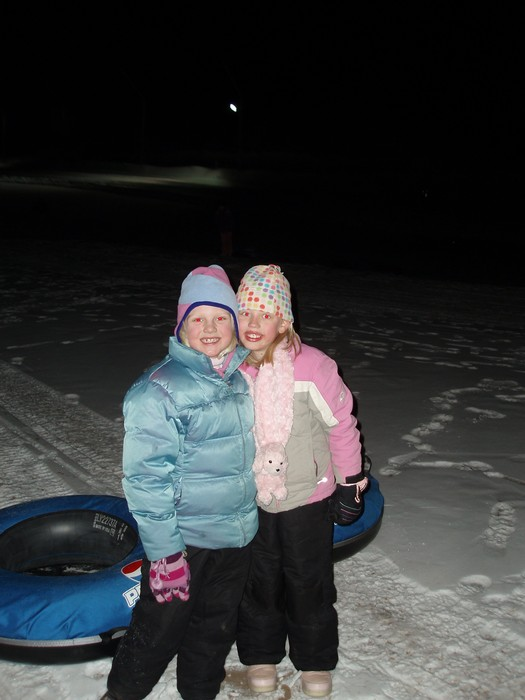 Elle and Lisa ready to tube at Wild Mountain, MN