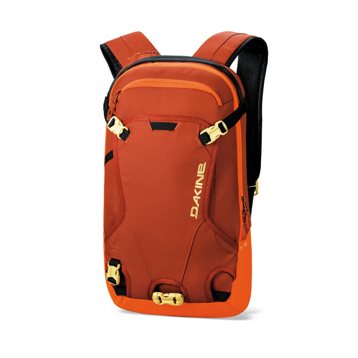 Dakine 12L Heli Pack: $70 Rule the backcountry with this versatile, yet compact backpack. Features include an insulated hydro sleeve, fleece-lined goggle pocket, external shovel carry, rescue whistle and ski/snowboard carry.