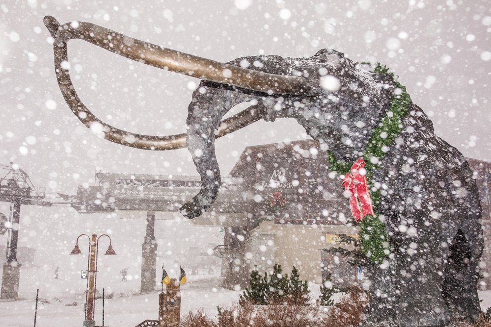Snow falling on Dec. 10 on the mascot statue at Mammoth Mountain. - © Peter Morning/Mammoth Mountain