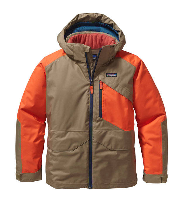 Patagonia Boy's Insulated Snowshot Jacket: $199 Bring on El Niño: the Boys' Insulated Snowshot Jacket is all-season, all-condition warmth for the slopes and beyond. H2No® Performance Standard, 2-layer, mini-herringbone polyester shell with a waterproof/breathable barrier, DWR (durable water repellent) finish, bluesign® approved liner and fully-taped seams to seal out moisture – it also has waterproof zippers at the center front and on the left-chest pocket. The coat's insulated with 150-g high-loft polyester, and the hood and sleeves are filled with 150-g Thermogreen® insulation (90% recycled). Internal elasticized gusset and mini-powder skirt attach to the Boys' Insulated Snowshot Pants to keep snow out. Articulated sleeves with grow-fit feature increase length by 2 inches; integrated drawcord at bottom hem. Two drop-in handwarmer pockets with hook-and-loop closure; left chest zippered pocket with interior cable routing.