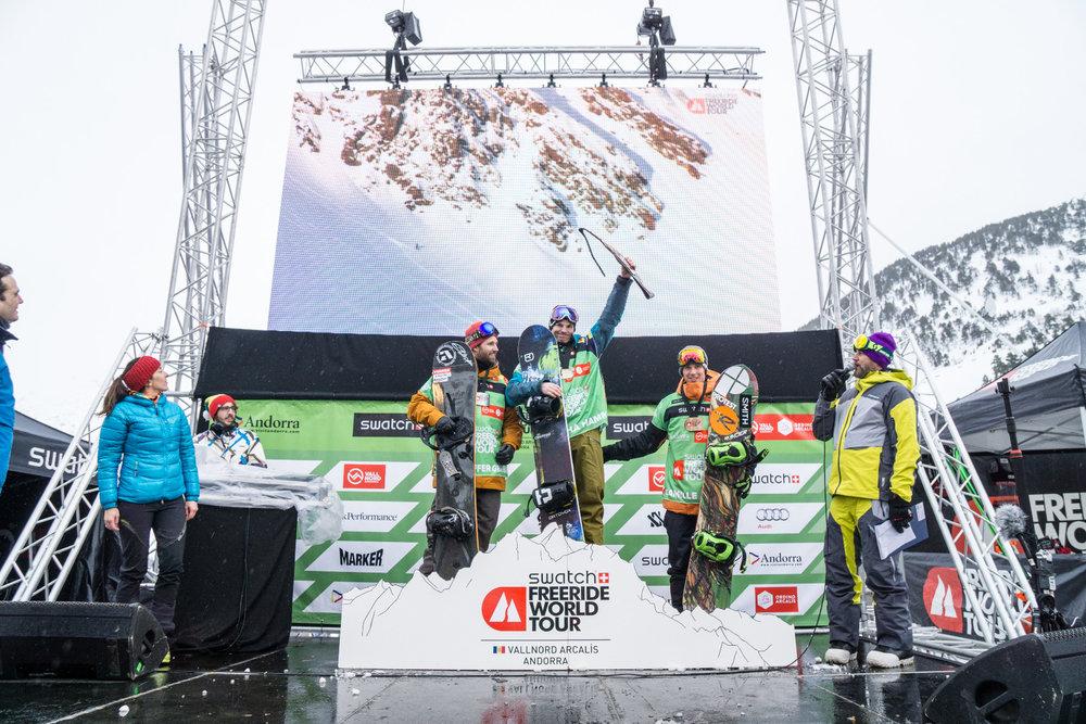 Víťazi v kategórii Snowboard - Muži | Freeride World Tour Andorra 2016 - © freerideworldtour.com | J. Bernard