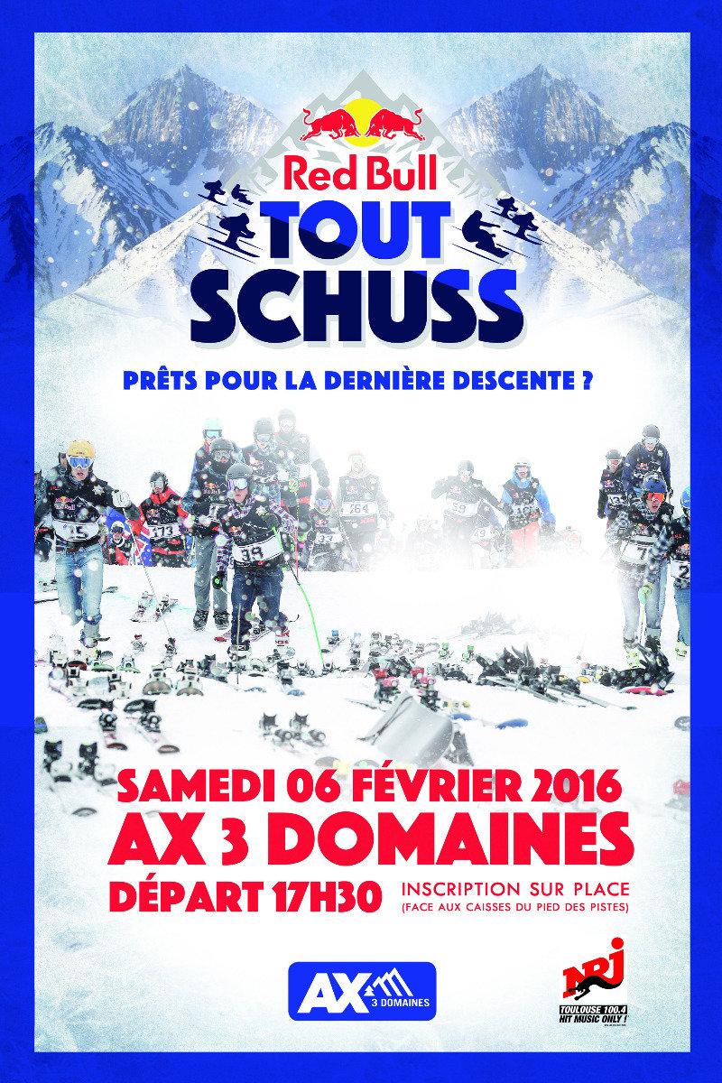 La première édition française du Red Bull Tout Schuss aura lieu à Ax 3 domaines le samedi 6 février 2016. - © Red Bull
