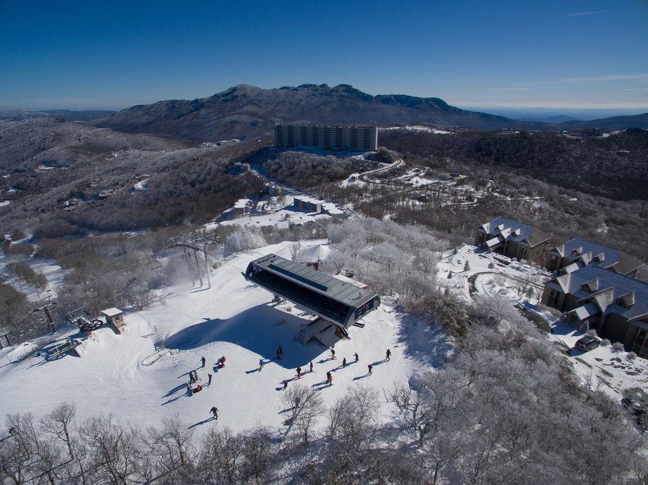"Aerial view of Sugar Mountain Resort after a nice 16"" blanket. - © bushphoto.com"