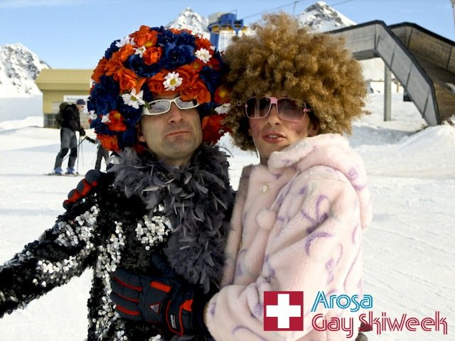 Visitors to Arosa, SUI during Gay Ski Week.