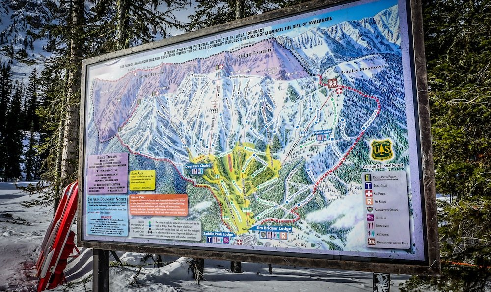 It's hard to miss the highlighted ridge terrain when glancing at Bridger Bowl's trail map.  - © Eric Slayman