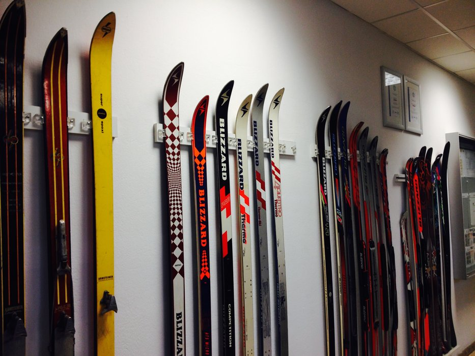 The Classic heritage wall at the Blizzard factory in Mittersill, Austria dates back to  1945, the year skis were first manufactured at this location this year. - © Krista Crabtree
