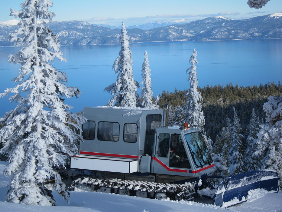 Homewood's snowcat perched above Lake Tahoe. - © Homewood Mountain Resort